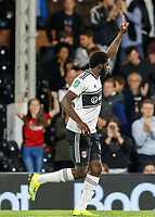 Football - 2018 / 2019 EFL Carabao Cup (League) Cup - Fulham vs. Exeter City<br /> <br /> Aboubakar Kamara (Fulham FC) acknowledges the crowd after scoring his second of the evening at Craven Cottage.<br /> <br /> COLORSPORT/DANIEL BEARHAM