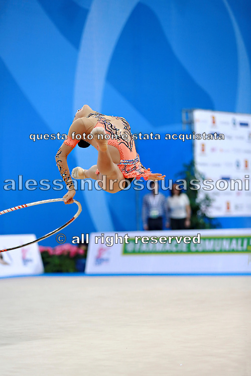 Piriyeva Zhala during qualifying hoop at the Pesaro World Cup April 1, 2016. Zhala is an Azerbaijani individual rhythmic gymnast, she was born in May 10, 2000 Baku, Azerbaijan.