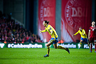 17.11.2015. Copenhagen, Denmark. <br /> UEFA EURO 2016 play-off Final Tournament, Second leg, Denmark 2 vs. Sweden 2.<br /> Zlatan Ibrahimovic celebrates his second goal against Denmark at the Telia Parken Stadium. <br /> Photo: © Ricardo Ramirez.