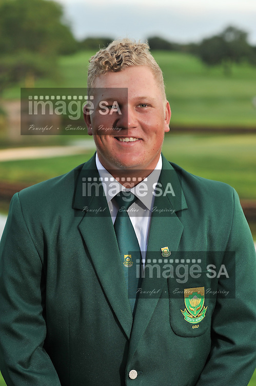 MALELANE, SOUTH AFRICA - Tuesday 17 February 2015, Tristen Strydom during the official flag raising ceremony of the annual Leopard Trophy, a two day test between teams of the South African Golf Association and the Scottish Golf Union, at the Leopard Creek Golf Estate.<br /> Photo Roger Sedres/ Image SA