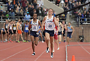 Apr 27, 2018; Philadelphia, PA, USA; Casey Comber runs the 1,600m  anchor leg on the Villanova distance medley relay that won the Championship of America race in 9:34.97 during the 124th Penn Relays at Franklin Field.