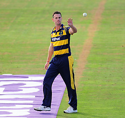 Shaun Tait of Glamorgan receives the ball.  - Mandatory by-line: Alex Davidson/JMP - 22/07/2016 - CRICKET - Th SSE Swalec Stadium - Cardiff, United Kingdom - Glamorgan v Somerset - NatWest T20 Blast