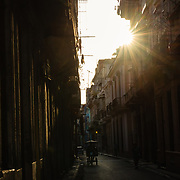 Narrow street in Old Havana in the early morning