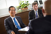 Dr. Han Duk-soo, the ambassador to the U.S. from the Republic of Korea shares a laugh with Grinnell College president Raynard Kington in Nollen House.