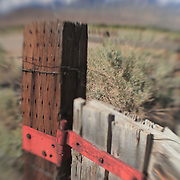 Distressed Wood Fencepost Rusted Hinge - North Owens Valley - Lensbaby
