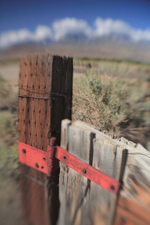 Distressed Wood Fencepost Rusted Hinge - North Owens Valley - Lensbaby