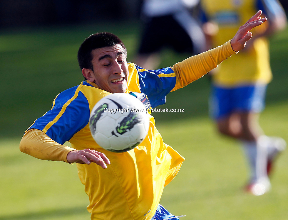 Centrals' Emiliano Tade. 2012 Chatham Cup, Third Round, Central United v Waitakere City FC, Kiwitea Street Auckland, Sunday 24th June 2012. Photo: Shane Wenzlick