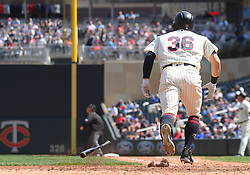 May 2, 2018 - Minneapolis, MN, U.S. - MINNEAPOLIS, MN - MAY 02: Minnesota Twins Outfield Robbie Grossman (36) heads to 1st on a single during a MLB game between the Minnesota Twins and Toronto Blue Jays on May 2, 2018 at Target Field in Minneapolis, MN.The Twins defeated the Blue Jays 4-0.(Photo by Nick Wosika/Icon Sportswire) (Credit Image: © Nick Wosika/Icon SMI via ZUMA Press)