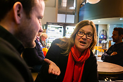 Academic Jane Stokes, 60, who lectures in media studies talks with Bild journalist Philip Fabian about Brexit in London. London, January 16 2019.