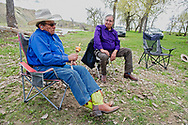 Richard Real Bird, peyote gourd rattle, talks with peyote roadman Lanny Real Bird, morning after Native American Church peyote ceremony, Crow Indian Reservation, Montana