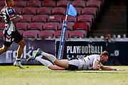York City Knights second row Joe Batchelor (11) scores a try during the Betfred League 1 match between York City Knights and Keighley Cougars at Bootham Crescent, York, England on 25 March 2018. Picture by Simon Davies.