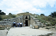 Tumulus at Mycenae. View of entrance.  Prehistoric Greek city discovered by Heinrich Schliemann (1822-1890) in the 1870s. Late Bronze Age c1450-c1100 BC.