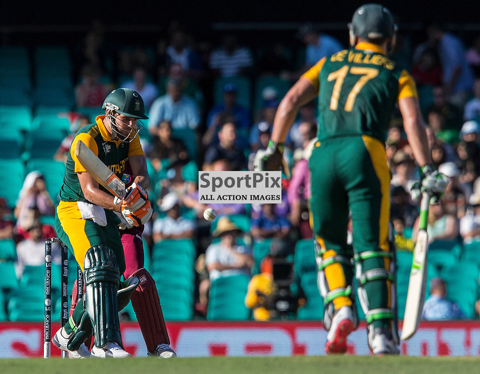 ICC Cricket World Cup 2015 Tournament Match, South Africa v West Indies, Sydney Cricket Ground; 27th February 2015<br /> South Africa&rsquo;s Rilee Rossouw attempts a reverse shot