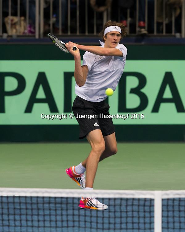 Alexander Zverev (GER), Davis Cup Match GER-CZE<br /> <br /> Tennis - Davis Cup 2016 - ITF Davis Cup -  TUI Arena - Hannover - Niedersachsen - Germany - 5 March 2016. <br /> &copy; Hasenkopf-Molter