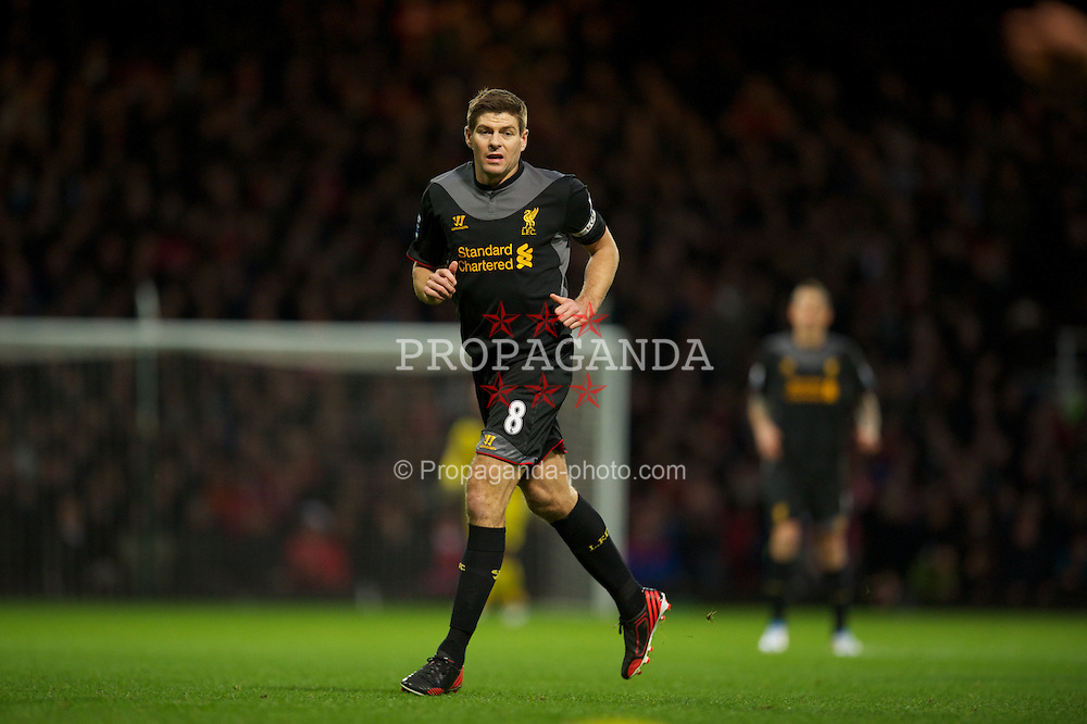 LONDON, ENGLAND - Sunday, December 9, 2012: Liverpool's captain Steven Gerrard in action against West Ham United during the Premiership match at Upton Park. (Pic by David Rawcliffe/Propaganda)