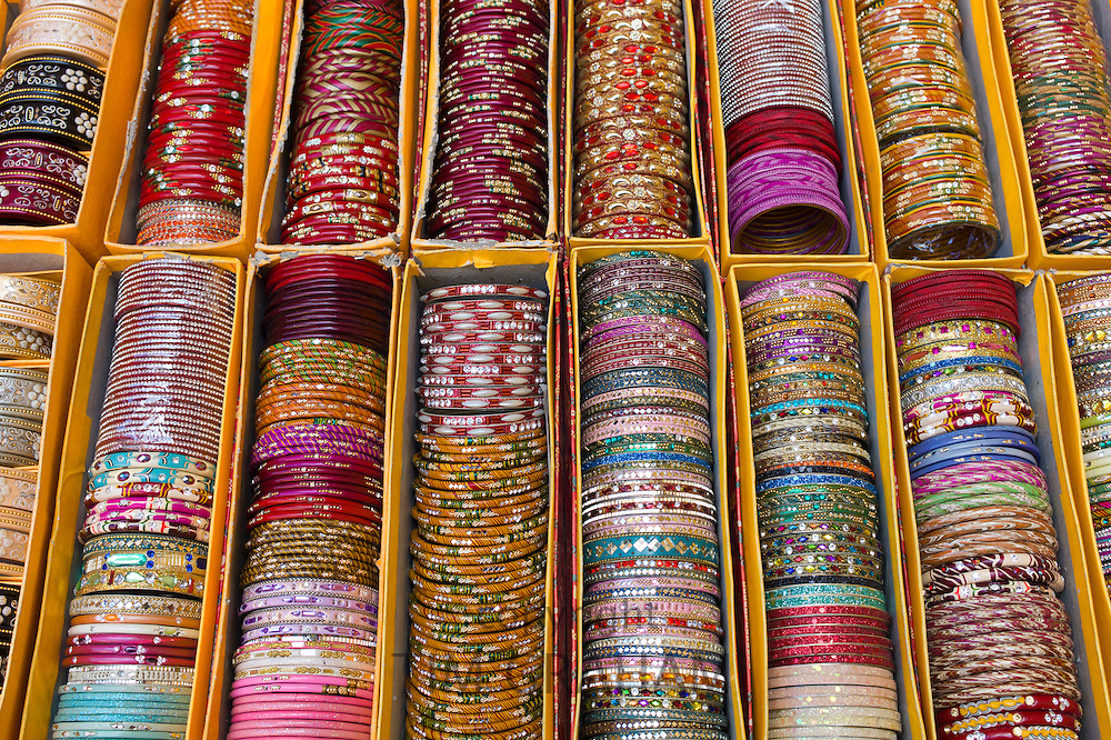 Traditional Indian bangles at The Amber Fort a Rajput fort built 16th Century in Jaipur, Rajasthan, Northern India