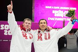 17.02.2014, Krasnaya Polyana, Sliding Center Sanki, RUS, Sochi, 2014, Bob Herren, im Bild Alexander Zubkov, Alexey Voevoda (RUS) // during Mens Bob the Olympic Winter Games Sochi 2014 at the Krasnaya Polyana in Sliding Center Sanki, Russia on 2014/02/17. EXPA Pictures © 2014, PhotoCredit: EXPA/ Freshfocus/ Michael Zanghellini<br /> <br /> *****ATTENTION - for AUT, SLO, CRO, SRB, BIH, MAZ only*****