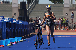 Rachel Klamer of Netherlands in the transition during the Elite Women race of the Discovery Triathlon World Cup Cape Town leg held at Green Point in Cape Town, South Africa on the 11th February 2017.<br /> <br /> Photo by Shaun Roy/RealTime Images