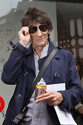 © licensed to London News Pictures. London, UK 13/08/2012. Ronnie Wood leaving the 'A Major Retrospective Of 50 Years Of Rock And Roll' exhibition in central London.  Photo credit: Tolga Akmen/LNP