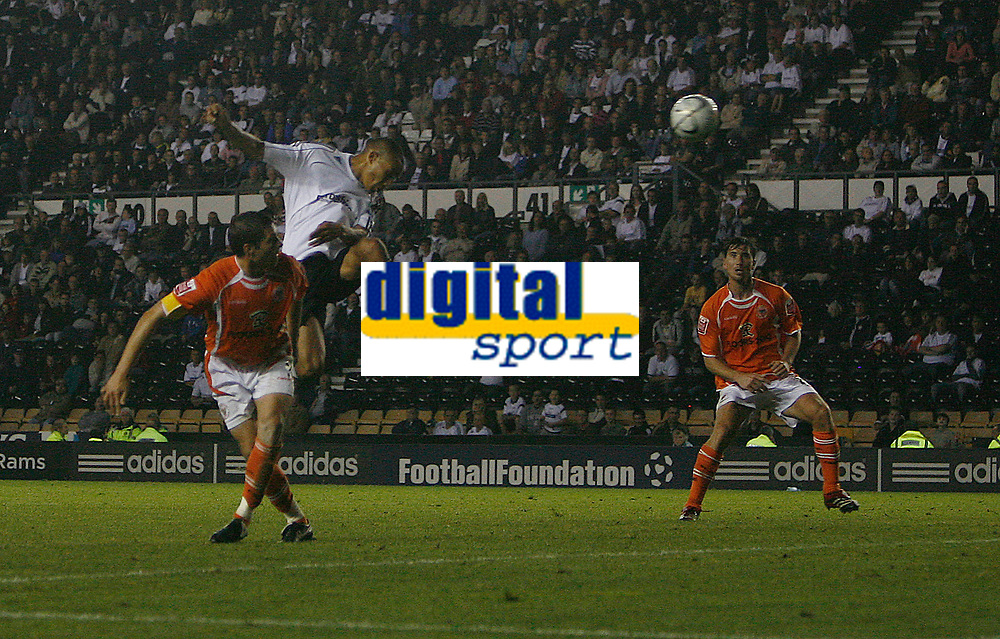 Photo: Steve Bond.<br />Derby County v Blackpool. Carling Cup. 28/08/2007. Craig Fagan leaps to score Derby County's 2nd