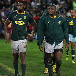 Siya Kolisi (captain) of South Africa with Chiliboy Ralepelle of South Africa during the 2018 Castle Lager Incoming Series 3rd Test match between South Africa and England at Newlands Rugby Stadium,Cape Town,South Africa. 23,06,2018 Photo by (Steve Haag JMP)