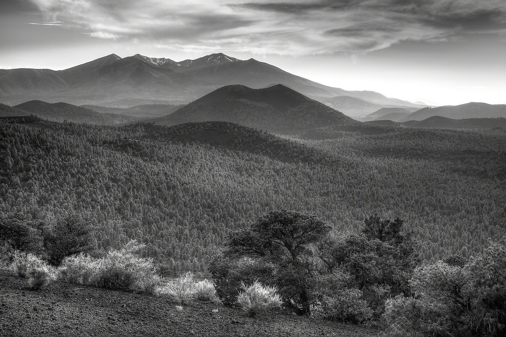 Sunset Crater in afternoon light, San Francisco Peaks behind, taken from an unusual viewpoint