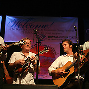 BREVARD, NC - SEPTEMBER 12 :  (L-R) Mike Guggino , Lou Ried,  Woody Platt and Dudley Connell  perform on stage as The Seldom Scene performs with the Steep Canyon Rangers in the Mountain Song Festival at The Brevard Music Center on September 12, 2009,  in Brevard, North Carolina, USA. (Photo by Logan Mock-Bunting/Getty Images)