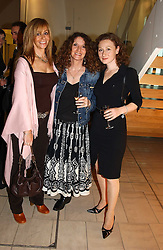 Left to right, MANYA BARTICK, LINNY MOSS and BONNIE SUTTON at a party to celebrate the european launch of Froggy handbags held at BB Italia, Brompton Cross, London on 24th October 2004.<br />