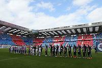 Entree des joueurs  / Supporters Caen / Tifo - 09.05.2015 -  Caen / Lyon  - 36eme journee de Ligue 1<br />Photo : Vincent Michel / Icon Sport