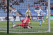Coventry City midfielder Joe Cole (14)  is offside as he back heels the ball toward the goal during the Sky Bet League 1 match between Coventry City and Millwall at the Ricoh Arena, Coventry, England on 16 April 2016. Photo by Simon Davies.