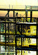 Industrial Steel Frame under construction in the worm hole