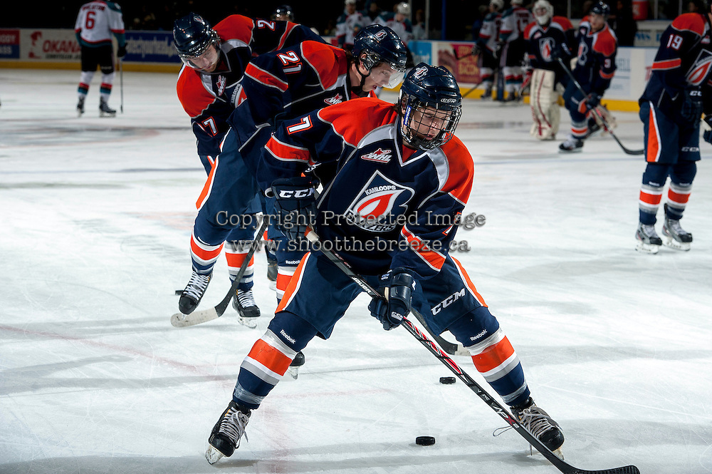 KELOWNA, CANADA -FEBRUARY 1: Jake Kryski #7 of the Kamloops Blazers stick handles the puck during warm up against the Kelowna Rockets on February 1, 2014 at Prospera Place in Kelowna, British Columbia, Canada.   (Photo by Marissa Baecker/Getty Images)  *** Local Caption *** Jake Kryski;
