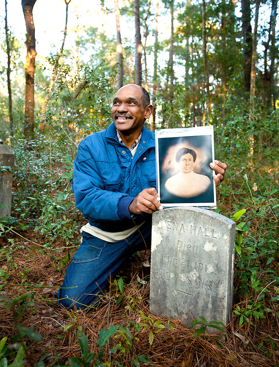 Editorial photo shoot of Billy Freeman at a relatives gravesite in Wilmington, North Carolina. The article was about ownership of Freeman Beach in Wilmington, NC.