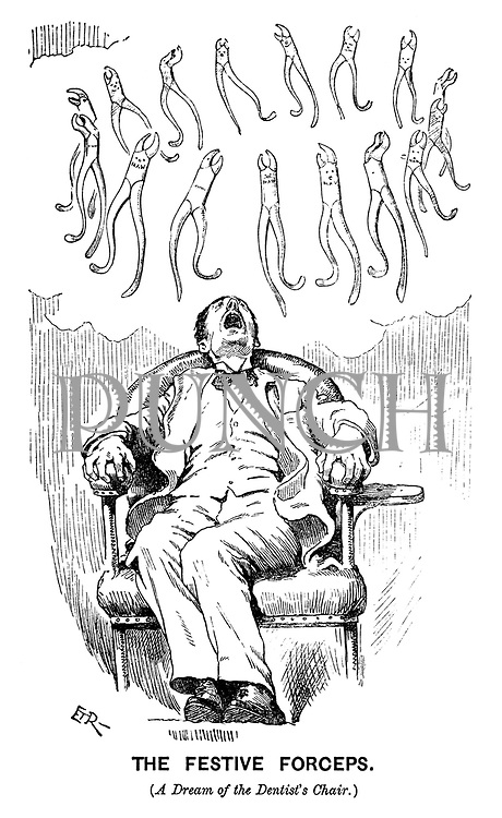 The Festive Forceps. (A dream of the dentist's chair.) (a Victorian cartoon shows several dental forceps circling above a man with his mouth wide open)