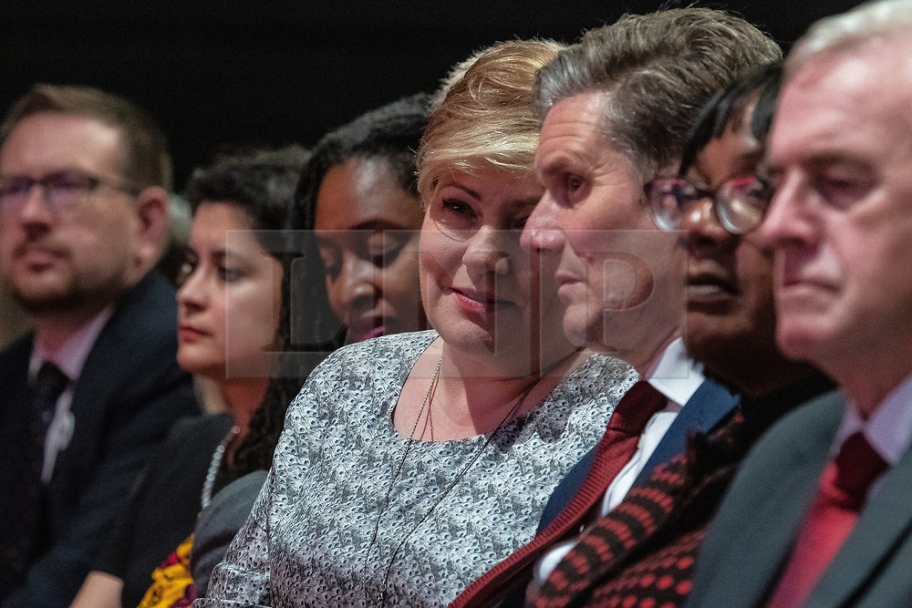 © Licensed to London News Pictures . 24/09/2019. Brighton, UK. The Labour front bench , including ANDREW GWYNNE , SHAMI CHAKRABARTI , DAWN BUTLER , EMILY THORNBERRY , KEIR STARMER , DIANE ABBOTT , JOHN MCDONNELL , listens as Jeremy Corbyn delivers the leader's speech a day early , on the fourth day of the 2019 Labour Party Conference from the Brighton Centre , after the Supreme Court ruled that Boris Johnson's suspension of Parliament was unlawful . Photo credit: Joel Goodman/LNP