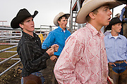 "30 JULY 2005 - WILLIAMS, ARIZONA, USA: Cowboys behind the chutes watch their friends compete at the Arizona Cowpunchers' Reunion Rodeo, the largest amateur rodeo in Arizona, in Williams, AZ, July 30. Professional rodeo cowboys cannot participate in the rodeo. Only working ranch cowboys and their families can participate in the rodeo, which features sports more geared to ranch life, like ""wild cow milking"" than pro rodeos, which feature bull riding. Williams, a small ranching town in northern Arizona and about an hour from the south entrance to the Grand Canyon National Park, has reinvented itself as a tourist destination. The town draws tourists going to the park and tourists who want to experience American western lifestyle. The town hosts the largest amateur rodeo in Arizona drawing contestants and spectators from across the state. PHOTO BY JACK KURTZ"