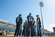 The Yorkshire County Cricket Club players chat before the game starts. Adil Rashid (Yorkshire CCC) and Peter Handscomb (Yorkshire CCC) in the foreground before the Royal London 1 Day Cup match between Yorkshire County Cricket Club and Durham County Cricket Club at Headingley Stadium, Headingley, United Kingdom on 3 May 2017. Photo by Mark P Doherty.