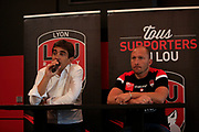 Yann Roubert Président of LOU and Pierre Mignoni coach of LOU during the Olympique Lyonnais presentation press conference, French Championship L1 2018/2019, at Lyon, France, on June 30, 2018 - Photo Romain Biard / Isport / ProSportsImages / DPPI