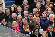 Senators including Bernie Sanders, left, Elizabeth Warren, center, John McCain, center, and Dick Durban watch the 68th Inaugural ceremony January 20, 2017 in Washington, DC. Donald Trump became the 45th President  of the United States of America.