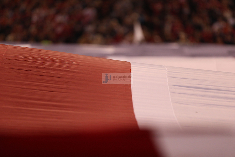 The National Anthem is played as a giant flag is seen before the Chicago Bears against the San Francisco 49ers NFL game on Monday Nov. 19, 2012 in San Francisco, CA.  (photo by Jed Jacobsohn)