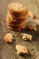 Cookies on wooden background - close -up