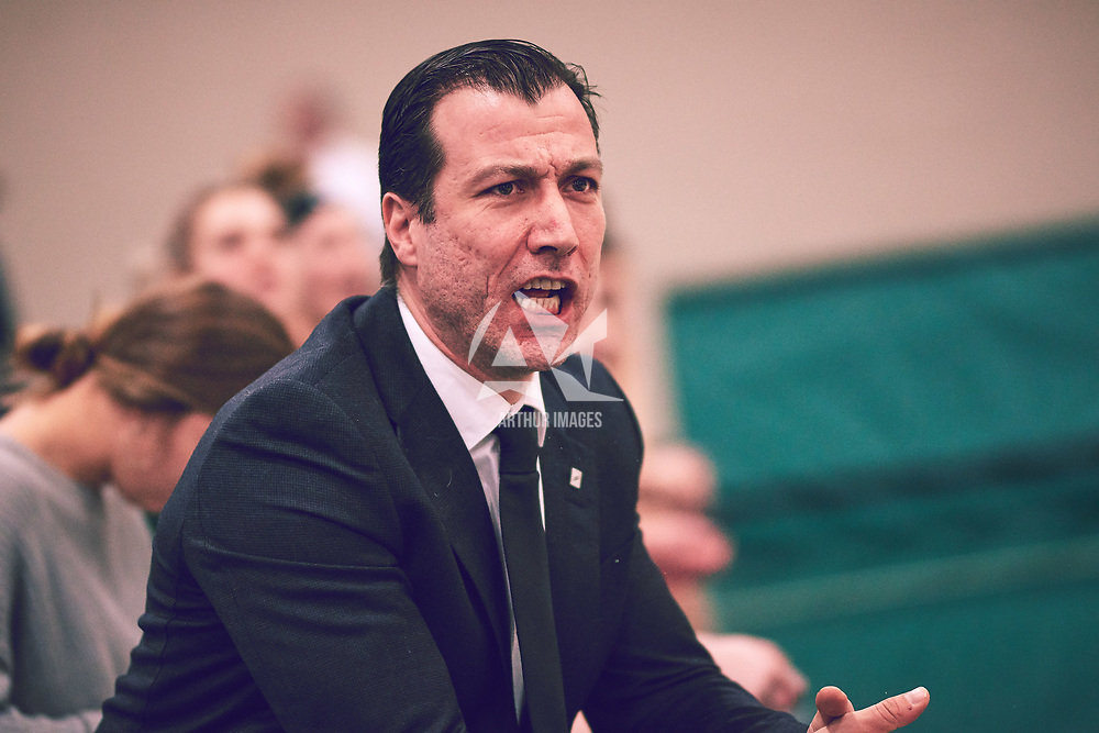 Women's Basketball Assistant Coach, Fatih Asker during the Women's Basketball Home Game on Sat Feb 02 at Centre for Kinesiology,Health and Sport. Credit: Arthur Ward/Arthur Images