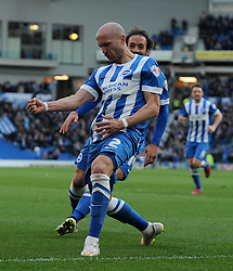 Brighton and Hove Albion's Bruno Saltor celebrates his sides goal   - Photo mandatory by-line: Harry Trump/JMP - Mobile: 07966 386802 - 14/03/15 - SPORT - Football - Sky Bet Championship - Brighton v Wolves - Amex Stadium, Brighton, England.
