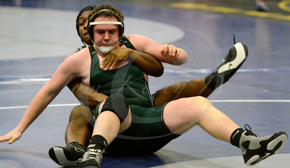 Staff photos by Tom Kelly IV<br /> Strath Haven's Elijah Crew has Ridley's  in a hold in the 220 lb match during the Delco. Duals Wrestling tournament at Academy Park High School.