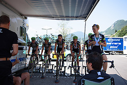 Safety first: Hemlets on the rollers in the Liv-Plantur that Giro Rosa 2016 - Stage 4. A 98.6 km road race from Costa Volpino to Lovere, Italy on July 5th 2016.