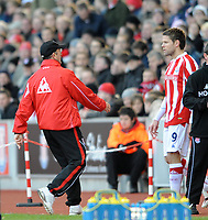 Stoke City/Wigan Athletic Premiership 12.12.09 <br /> Photo: Tim Parker Fotosports International<br /> Tony Pulis Stoke City manager brings on substitute James Beattie after he changed his shirt