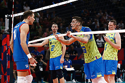 PARIS, FRANCE - SEPTEMBER 29: Klemen Cebulj #18 of Slovenia reacts to a play against Aleksandar Atanasijevic #14 of Serbia during the EuroVolley 2019 Final match between Serbia and Slovenia at AccorHotels Arena on September 29, 2019 in Paris, France.  Photo by Catherine Steenkeste / Sipa / Sportida
