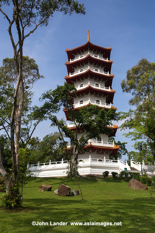 The Ru Yun T'a 7-storey pagoda is situated on a hill in the Chinese Garden. Its typical pagoda design is similar in style to the Nanjing Ling Ku Temple Pagoda. Chinese Garden also known as Jurong Gardens, was made  in 1975 and designed by Prof. Yuen-chen Yu, an architect from Taiwan,. The garden's concept is based on the integration of architectural features within the natural environment. The garden is modeled along the northern Chinese imperial styles of landscaping.  In Chinese gardens, bridges play a critical role and the most important structures may denote a specific character.