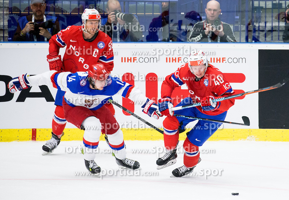 Viktor Tikhonov of Russia vs Ken Andre Olimb of Norway during Ice Hockey match between Russia and Norway at Day 1 in Group B of 2015 IIHF World Championship, on May 1, 2015 in CEZ Arena, Ostrava, Czech Republic. Photo by Vid Ponikvar / Sportida