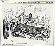 General Strike, Britain, May 1926:  Helpful owner-driver willing to squeeze in another pedestrian stranded by the lack of public transport.  Cartoon from 'Punch', London,  19 My 1926.